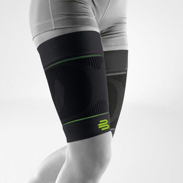 sports compression sleeves upper leg black